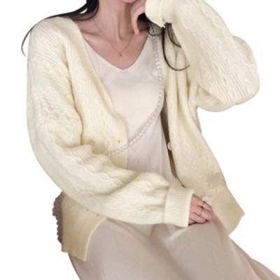 春新作 ニットカーディガン 長袖 レディース Vネック ケーブル編み ざっくり かわいい おしゃれ ビッグシルエット ドロップショルダー ボ
