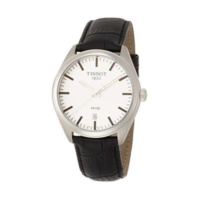 (輸入品)Tissot Men's Stainless Steel Quartz Watch with Leather-Synthetic Strap, Silver, 18 (Model: T1014101603100)