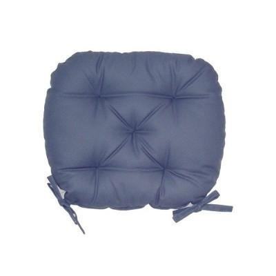 バテイ型 シートクッション/座布団 〔ブルー〕 厚み6cm 紐付き 洗える 日本製