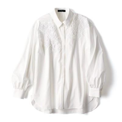 刺繍レース付き タイプライター シャツ オフホワイト 7