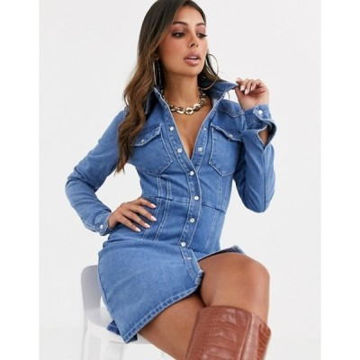 エイソス レディース ワンピース トップス ASOS DESIGN denim structured shirt dress in blue