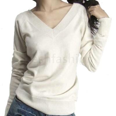 Vネックニットセーター  長袖 ゆったり 無地 プルオーバー 細身 レディース カシミヤ混 ウール 秋 冬 着痩せ 韓国風