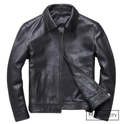 ☆高級感☆メンズレザーコート メンズオートバイの羊革ジャケット メンズジャケットメンズショートコート/ブラック サイズ選択可能
