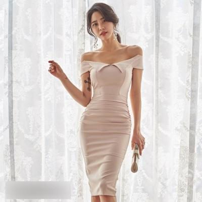パーティードレス  キャバ嬢 同伴 ドレス ミニドレス ワンピースドレス アシンメトリーデザインリボンモチーフワンピースドレスレイミー セクシー レデ