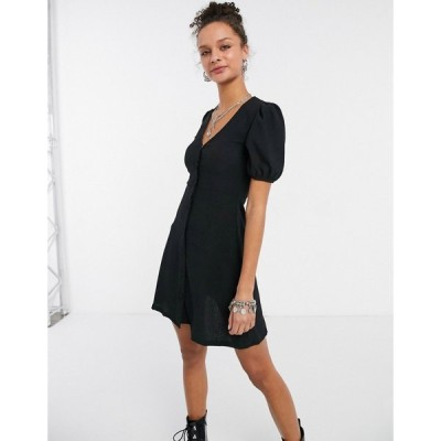 ニュールック New Look レディース ワンピース ワンピース・ドレス Crinkle Button Front Dress In Black ブラック