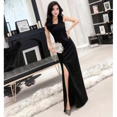 3色 キャバ ドレス ロング シンプル 黒 アシンメトリー きれいめ ワンショルダー ロングドレス キャバ パーティードレス ロング ワンピー