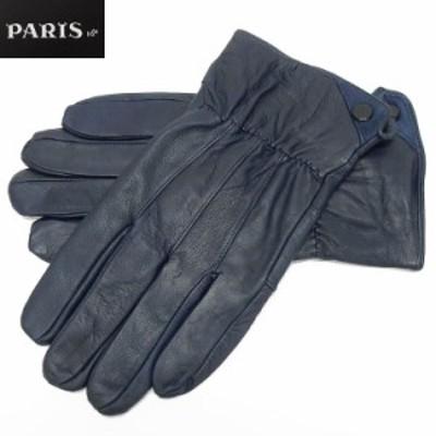 ◆手袋◆PARIS16e 羊革/シープスキン ネイビー メンズ グローブ メール便可 LAM-N08-NV