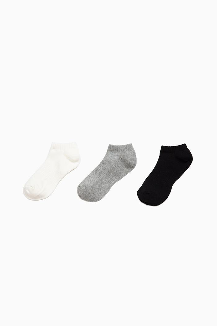 (男童三入組).足弓運動襪(黑/灰/白)