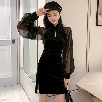 (良い品質)改良版の新型チャイナドレスの若い女の子の春の服装2021新型の黒のセクシーなお尻の絹の绒のワンピース