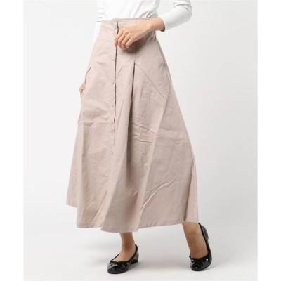 スカート コットンツイル前ボタンフレアロングスカート
