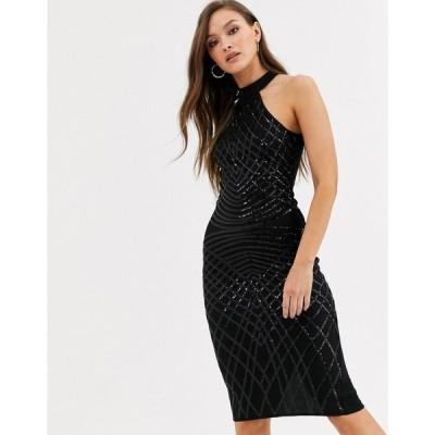 アックスパリス AX Paris レディース ワンピース ミニ丈 ワンピース・ドレス high neck sequin mini dress in black ブラック