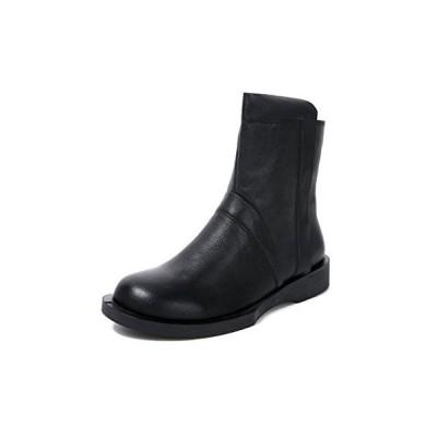 [ZUYEE] (ズイェ) レディース ショートブーツ 本革 柔らかい フラット ファスナー付き カジュアル 黒 ブラック 24.0cm