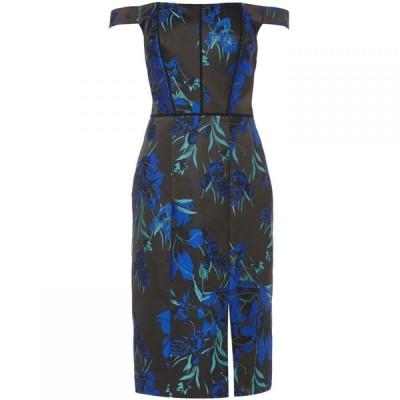 ジェイエス コレクションズ JS Collections レディース ワンピース ワンピース・ドレス Midi shift dress with tropical floral print Blue