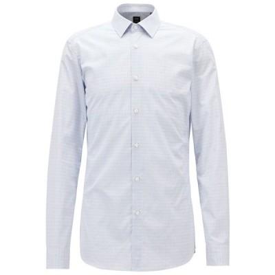 ヒューゴボス シャツ トップス メンズ BOSS Men's Slim Fit Tailored Cotton Shirt Medium Blue