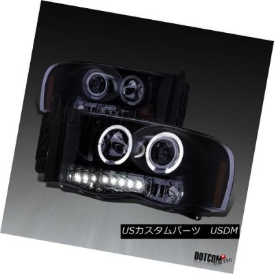 ヘッドライト 新しい光沢のあるピアノブラック2002-2005ダッジRAM LEDハロープロジェクターヘッドライトペア New Glossy Pian