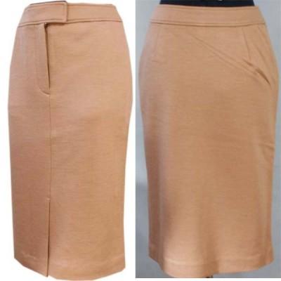 ジャージニット素材のセンタースリットスカート(キャメル色)サイズS・M・Lあり
