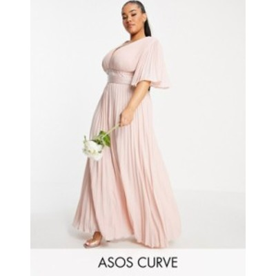 エイソス レディース ワンピース トップス ASOS DESIGN Curve Bridesmaid pleated flutter sleeve maxi dress with satin wrap waist Blu