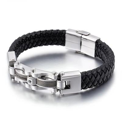 ブレスレット[ラッピング対応] PW 精良SUS316L製 本革 シルバーxブラック 機械風 ファッション 編込み bracelet /  長さ220mm 幅13mm 43g 条件付送料無料61196