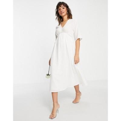 ヴィラ レディース ワンピース トップス Vila Bridal midi dress with empire waistline and v neck in white