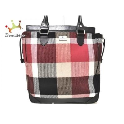 ブラックレーベルクレストブリッジ トートバッグ 美品 - レッド×黒×マルチ チェック柄   スペシャル特価 20201006