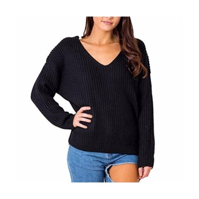 Paixpays V Neck Knitting T-Shirt Pullover Sweater Tops Winter Warm Lace Up