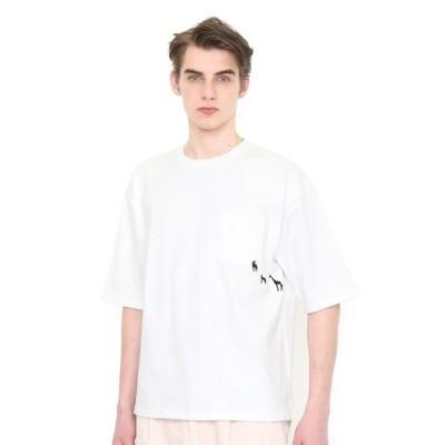 tシャツ Tシャツ アンダーザファーマメント ビッグシルエット五分袖Tシャツ(ホワイト)