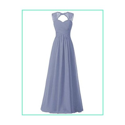 Women Bridesmaid Dress Junior Long Chiffon Formal Dress Steel Blue Size 16 Plus並行輸入品