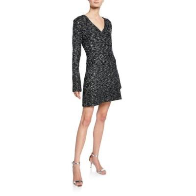セント ジョン コレクション レディース ワンピース トップス V-Neck Long-Sleeve Bejeweled Evening Texture Knit Dress w/ Chain Trim