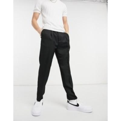 トップマン メンズ カジュアルパンツ ボトムス Topman tapered cotton pants in black Black