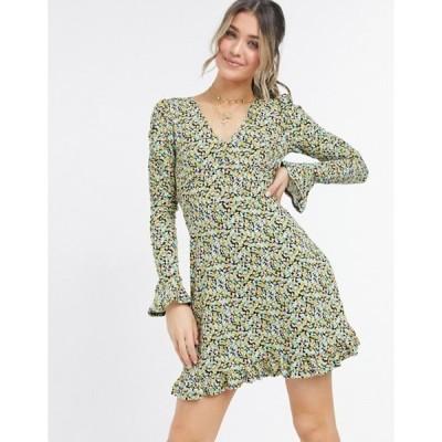 ミスセルフフリッジ レディース ワンピース トップス Miss Selfridge long sleeve fit and flare dress in floral print