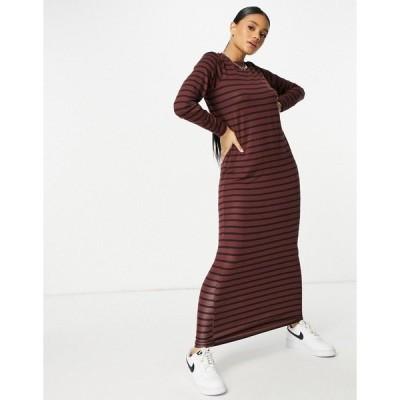 エイソス レディース ワンピース トップス ASOS DESIGN long sleeve maxi t-shirt dress in chocolate and black stripe Chocolate/black