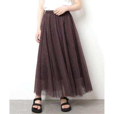 スカート チュールギャザーマキシスカート
