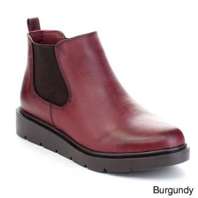 ブーツ シューズ 靴 海外セレクション WANTED SOUTH レディース プルオン フラット ヒール Chelsea アンクルElastic ブーティーs BURGUNDY