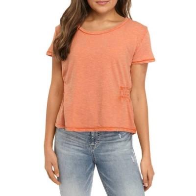 トゥルー クラフト レディース Tシャツ トップス Junior's Short Sleeve Smocked Side T-Shirt