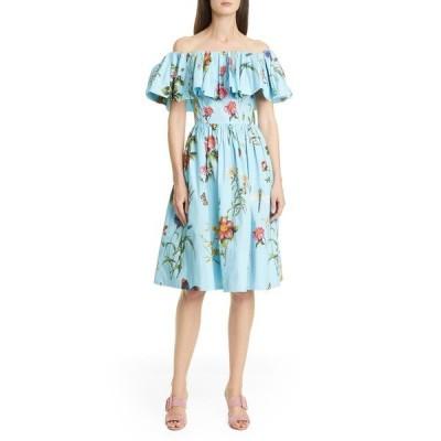 オスカー デ ラ レンタ ワンピース トップス レディース Floral Off the Shoulder Dress Aquamarine