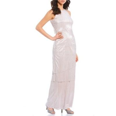 アレックスマリー レディース ワンピース トップス Teagan High Round Neck Tiered Pleated Gown Pale Blush