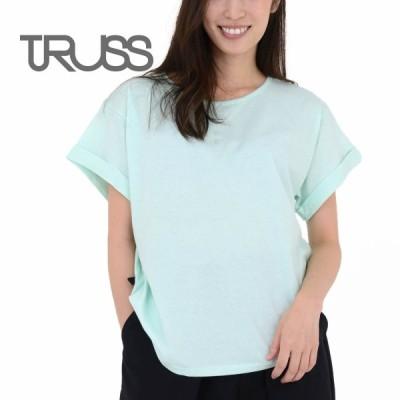 Tシャツ レディース 半袖 TRUSS トラス 3.8オンス ウィメンズ ロールアップ Tシャツ wru806 ワイド カットソー コットン 100% ブラック ブルー オフホワイト