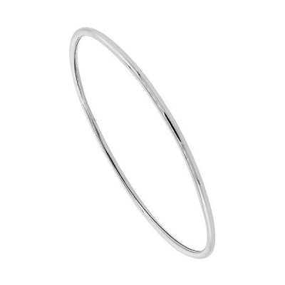 Sterling Silver Bangle Bracelet Slip-On Stackable Domed 2 mm Handmade, 7.75