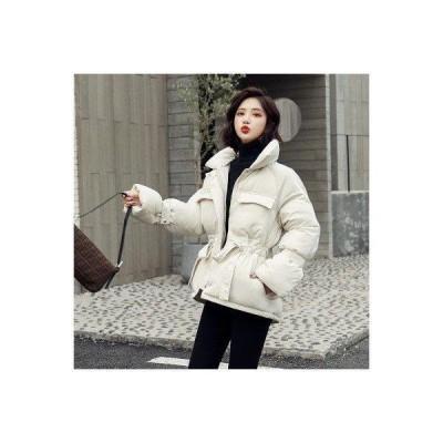 レディース ダウンコート 中綿コート ダウンジャケット 中棉アウター 無地 フードなし ゴムベルト ポケット付き 可愛い ゆったり 冬 新作 ファッ