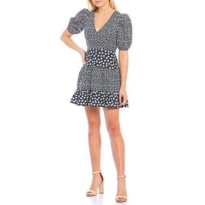 フレンチコネクション レディース ワンピース トップス Aura Ditsy Mixed Print Poplin V-Neck Puff Sleeve Mini Dress