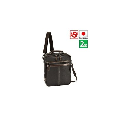 ショルダーバッグ カジュアルバッグ 日本製 豊岡製鞄 メンズ A5ファイル 2室 牛革ハンドル 紳士 縦型 カジュアル 休日 旅行 ショッピング 黒 #16431★
