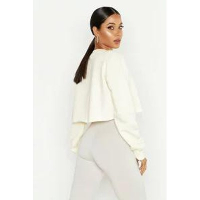 Boohoo レディースその他 Boohoo Crew Neck Cropped Sweat ecru
