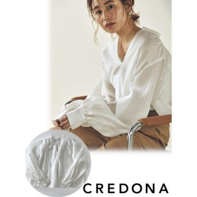 CREDONA (クレドナ) ショルダータックデザインブラウス  21春夏.予約 1421310565 入荷予定 : 5月中旬〜