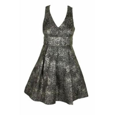 Gold ゴールド ファッション ドレス Guess Black Gold Metallic Sleeveless V-Neck Jacquard A-Line Dress 2