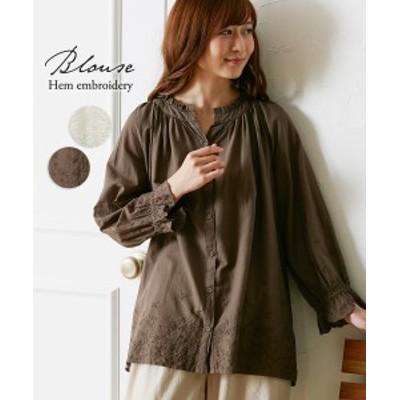 レディース 裾刺繍 フリルネック シャツ オフホワイト/カーキブラウン M/L ニッセン