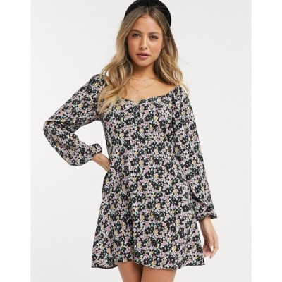 ミスセルフフリッジ レディース ワンピース トップス Miss Selfridge sweetheart mini tea dress in black