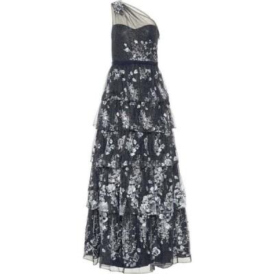 ノッテ バイ マルケッサ Marchesa Notte レディース パーティードレス ワンピース・ドレス Embroidered Tulle Gown Navy