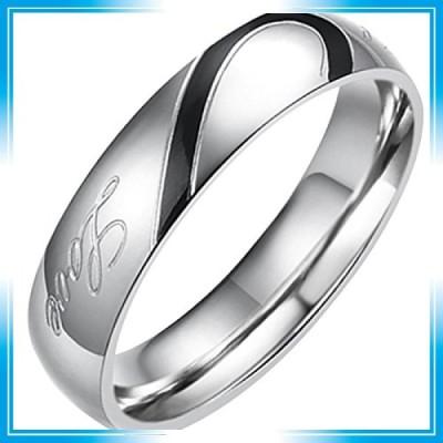 Flongo ステンレス指輪 ペア メンズリング Love&ハート モチーフ 刻印入 シンプル プレゼント 記念日 ブラック シ
