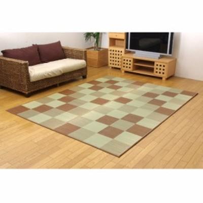 IKEHIKO 純国産い草ラグカーペット『Fブロック2』 8220780 ブラウン 約191×250cm