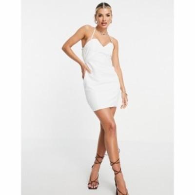 エイソス ASOS DESIGN レディース ワンピース レースアップ ミニ丈 Structured Mini Dress With Lace Up Back And Square Neck In White